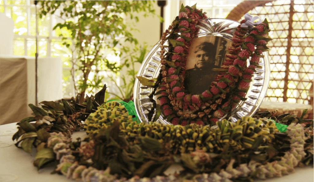 Queen Liliuokalani photo in a frame with lei